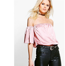 BOOHOO PETITE CAITLIN SATIN WOVEN OFF THE SHOULDER TOP SIZE 10 US