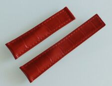 20mm, 20/18mm for TAG Heuer Monaco Red Color Alligator-Style Band Strap