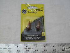 Two (2) GE 194NA Miniature Lamp Bulb 4w T3-1/4 Wedge Amber 12 volt 12v Free Ship
