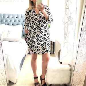 Ark & Co Black & Geometric Print Tunic Dress Small