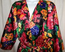 Fantasies Morgan Taylor Robe M Red Black Floral Silky Sleepwear Sexy Womens