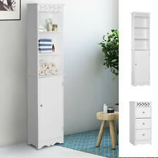 Bathroom Cabinet Corner Shelf Unit Drawers Tower Cupboard Wood Storage White