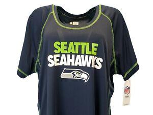 Seattle Seahawks NFL Team Apparel Women's Blue Scoop Neck T-Shirt Plus Sizes