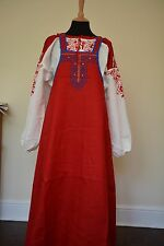 Russian Sarafan Dress folk costume ethnic peasant fashion linen cotton red BNWT
