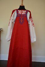 Russian Sarafan Dress folk costume ethnic peasant fashion linen red BNWT size 12
