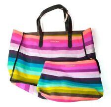 Victorias Secret Rainbow Stripe Tote Beach Bag Vinyl Lined Canvas Pouch Pink
