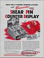 1950's Barracuda Shear Pin Counter Display Old Fishing tackle Print Ad Flyer