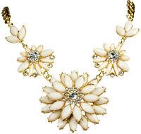 Collier Kette Halskette Statement Vintage Bohemian Boho Blume Blüte Kristall
