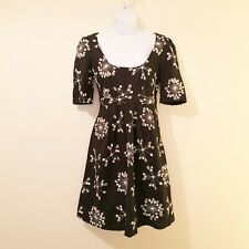 French Connection Dress, Size 12, Black With White Floral/Snowflake Embroidery