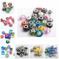 20Pcs Mixed Murano Lampwork Glass Loose Big Hole Beads European Charms Bracelet