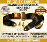 """SEAT BELT LAP BELTS SAFETY BUCKLE REPLACEMENT (NEW) 2 POINT UNIVERSAL """"BLACK"""""""