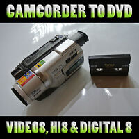 Convert your Hi8, Video8, Digital8, MiniDV & VHSc camcorder tapes to DVD