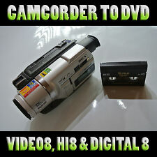 Convert your Hi8, Video8, Digital8, MiniDV & VHSc camcorder tapes to DVD