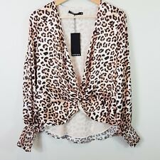 [ PORTMANS ] Womens Cheetah Print Deep V Blouse NEW + TAGS  | Size AU 8 or US 4