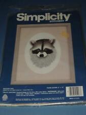 SIMPLICITY STITCHERY KIT RACCOON FACE LINEN/COTTON FABRIC CREWEL EMBROIDERY