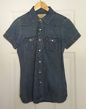Levi's Women's Small Blue Denim Chambray Blouse Pearl Snap Buttons U13