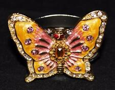 Hans Turnwald Jeweled Silverplated Butterfly Napkin Ring, Yellow & Pink