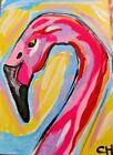 ACEO PINK FLAMINGO Acrylic 2000-now