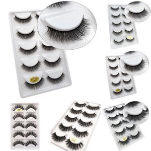 5 Pairs 3D Mink False Eyelashes Wispy Cross Long Thick Soft Fake Eye Lashes Gift