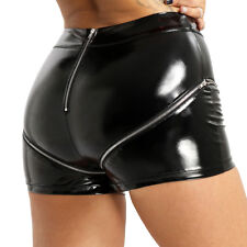 Womens High Waist Shorts Wet Look Leather Hot Pants Sexy Punk Shorts Pants Dance