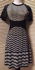 M Missoni Black White Gold Metallic Wave Knit Dress IT 42 US 6 NWT $895