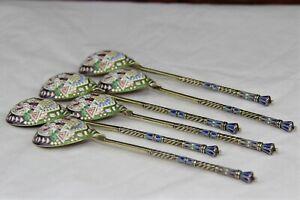 SET OF SIX Russian 88 Silver Cloisonne Enamel Tea Spoon Fedor Ruckert, Kokoshnik