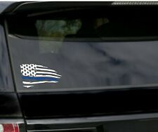 Distressed  American flag thin blue line Vinyl Decal Sticker | Ripped Torn USA