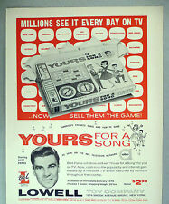 Yours For A Song TV Game PRINT AD - 1962 ~~ Bert Parks, Big L, Lowell Toy Co.