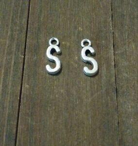 2 Letter S Charms Alphabet Pendants Uppercase Antiqued Silver