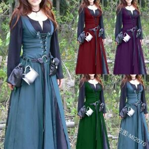 Women Vintage Dress Medieval Renaissance Two-Piece Set Victorian Maxi Dresses