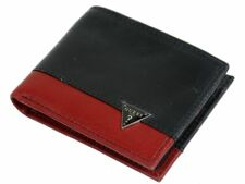 Guess Mens Ricardo Genuine Leather Organizational Bifold Wallet Black