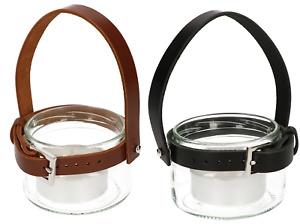 ABRATO Teelicht 55x20mm im Glas mit Ledergriff Komplette Dekorative Laterne