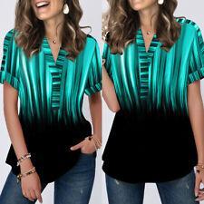 Gradient Printed Women T-shirt Ladies Short Sleeve V-neck Summer Casual Tee Tops