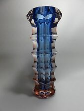 """Bohemian Czech Blue And Pink Crystal Vase 8 1/2"""""""