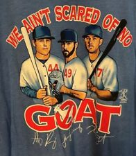 Chicago Cubs We Ain't Afraid Of No Goat Tee T Shirt Men L Blue Bryant Rizzo