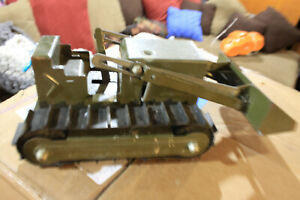 Structo Army Engineers Pressed Steel Front Loader / Bulldozer Military Toy Vtg