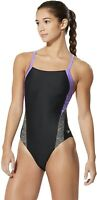 Speedo 180350 Womens Splice Flyback Swimsuit One-Piece Lavender Purple Size 6/32
