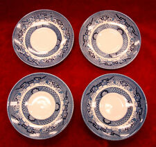 Set of 4 Chuchill Microwave Safe Saucers / Blue & White Pattern