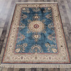 YILONG 4'x6' Handknotted Silk Carpet Antistatic Kid Friendly Blue area Rug H01A