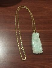 18K Gold & Jadeite Pendant in a shape of Chinese sage on 18K Yellow Gold Chain