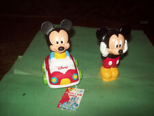 LOT OF TWO DISNEY BABY MICKEY MOUSE FIGURINES -SOFT & GO CARS CLEMENTONI ITALY