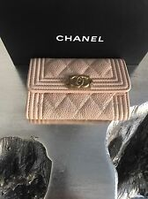 NWT CHANEL 2017 Beige Caviar BOY Gold Card Holder Coin O-Case Pouch Wallet 17C