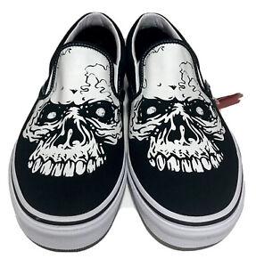 Vans Classic Slip On Skull Mens Size 11 Tm Glow Skulls Goth  Black Skateboarding
