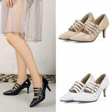 Size 8 Women's Pointed Toe Kitten Heels Pumps Sandals Party Patent Leather Shoes
