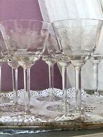 Antik 6 +1 Jugendstil Glas Weinglas Weingläser optisch gerippt geschliffen