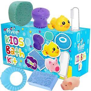 Kids Bath Kit 7in1 Baby Shower,Bath Toys,Bath Sponge Gift Set For Fun Bath Time