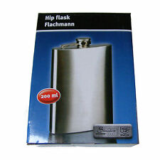 7oz / 200ml LARGE STAINLESS STEEL HIP FLASK  / DRINKING / ALCOHOL FLASK BOXED