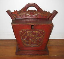 ANTIQUE VINTAGE CHINESE RED LACQUER CARVED GOLD GILDED WOOD WEDDING BASKET BOX