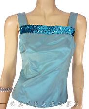 Top haut Débardeur BGN Tail 36 S 1 bleu satin brillant sequins soirée fête