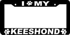 Keeshond Dog paw print License Plate Frame
